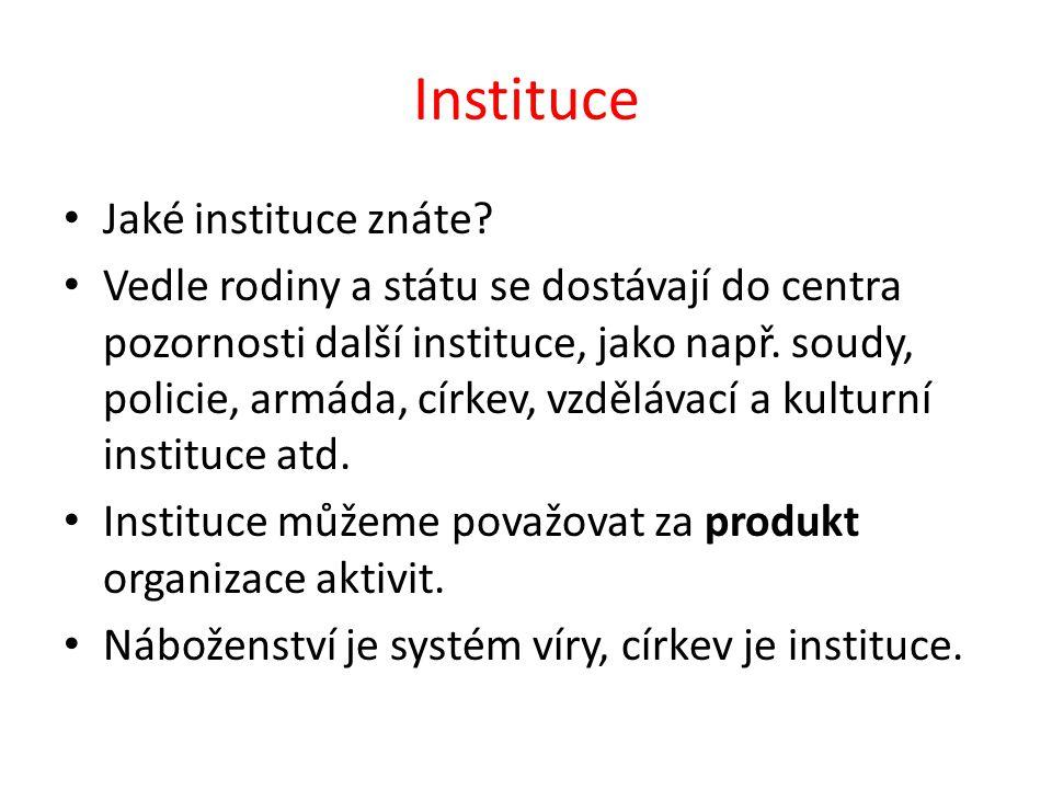 Instituce Jaké instituce znáte.