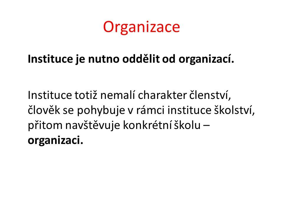 Organizace Instituce je nutno oddělit od organizací.