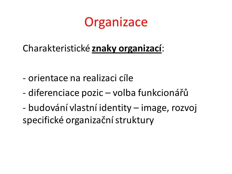 Organizace Charakteristické znaky organizací: - orientace na realizaci cíle - diferenciace pozic – volba funkcionářů - budování vlastní identity – image, rozvoj specifické organizační struktury