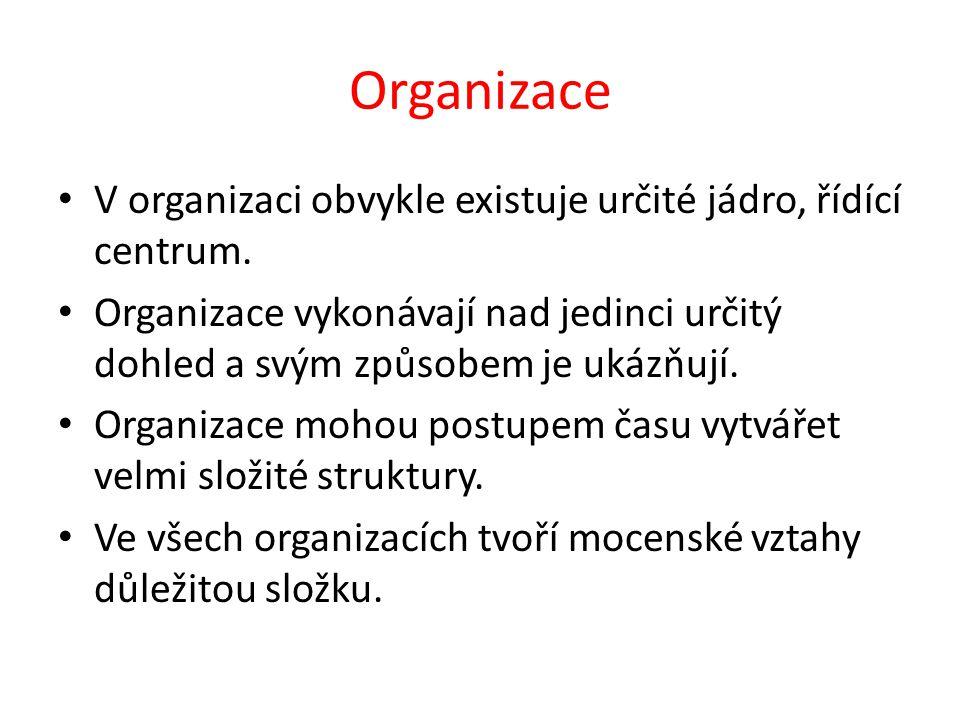 Organizace V organizaci obvykle existuje určité jádro, řídící centrum.