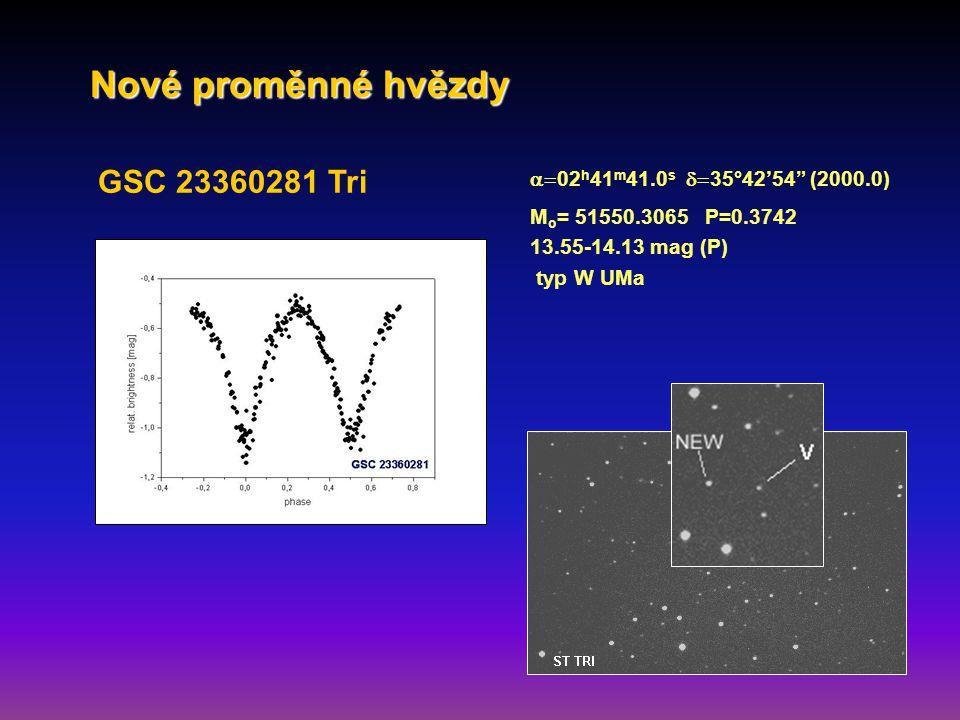 GSC 23360281 Tri  02 h 41 m 41.0 s  35°42'54 (2000.0) M o = 51550.3065 P=0.3742 13.55-14.13 mag (P) typ W UMa Nové proměnné hvězdy