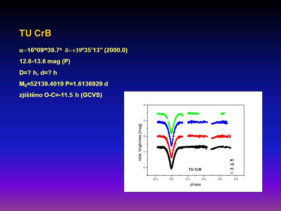 TU CrB  16 h 09 m 39.7 s  °35'13 (2000.0) 12.6-13.6 mag (P) D=.