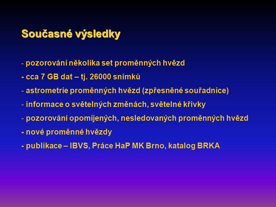 Současné výsledky - pozorování několika set proměnných hvězd - cca 7 GB dat – tj.
