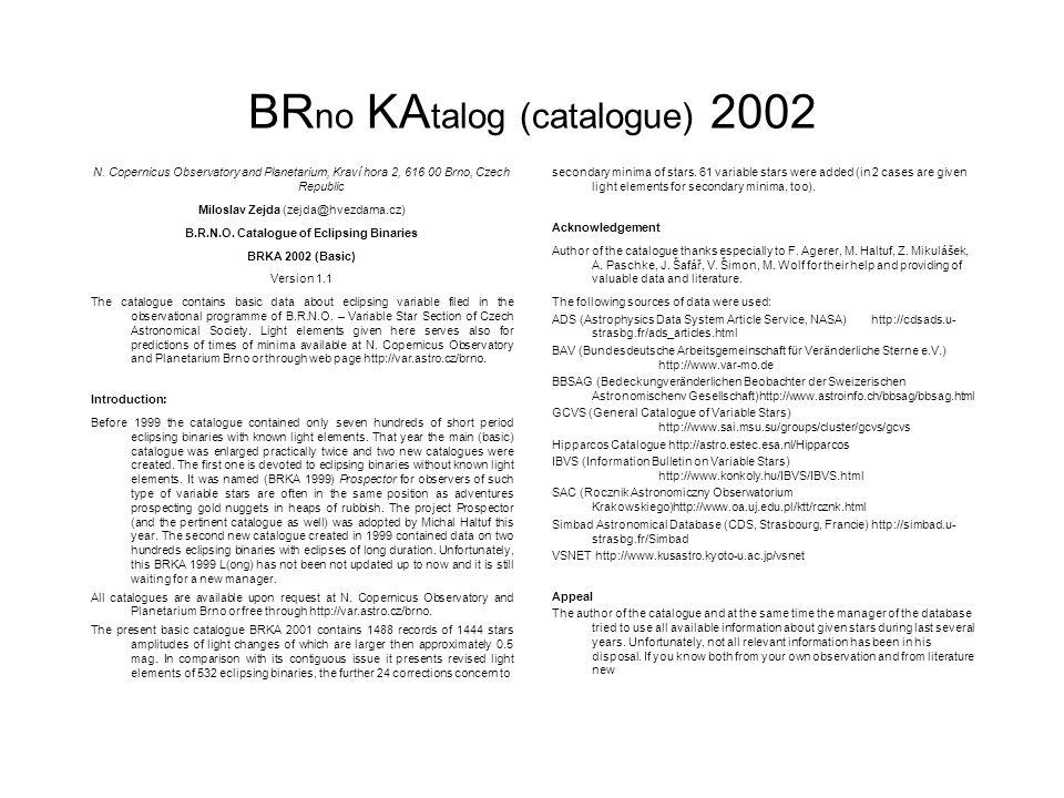BR no KA talog (catalogue) 2002 N. Copernicus Observatory and Planetarium, Kraví hora 2, 616 00 Brno, Czech Republic Miloslav Zejda (zejda@hvezdarna.c