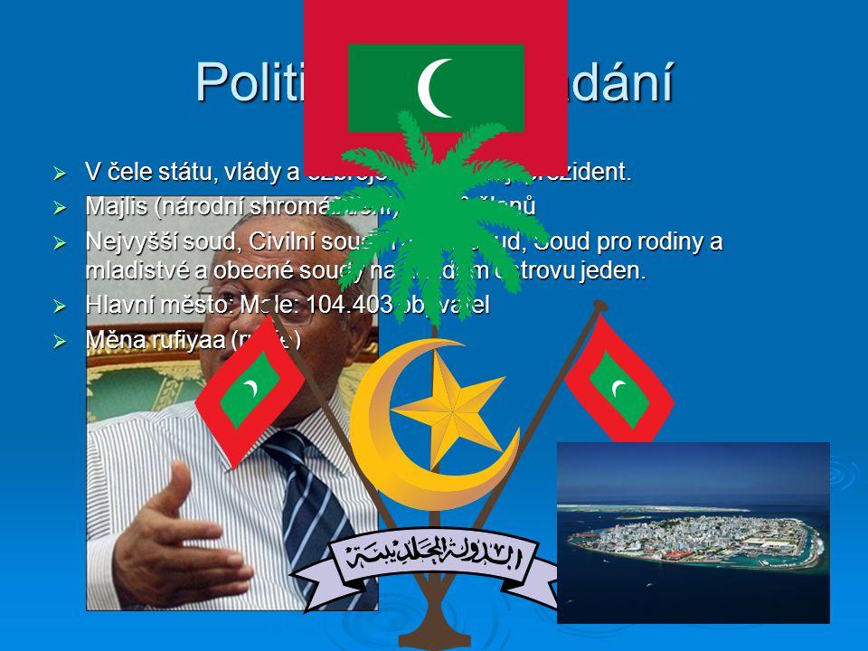 Politické uspořádání  V čele státu, vlády a ozbrojených sil stojí prezident.  Majlis (národní shromáždění) má 50 členů  Nejvyšší soud, Civilní soud