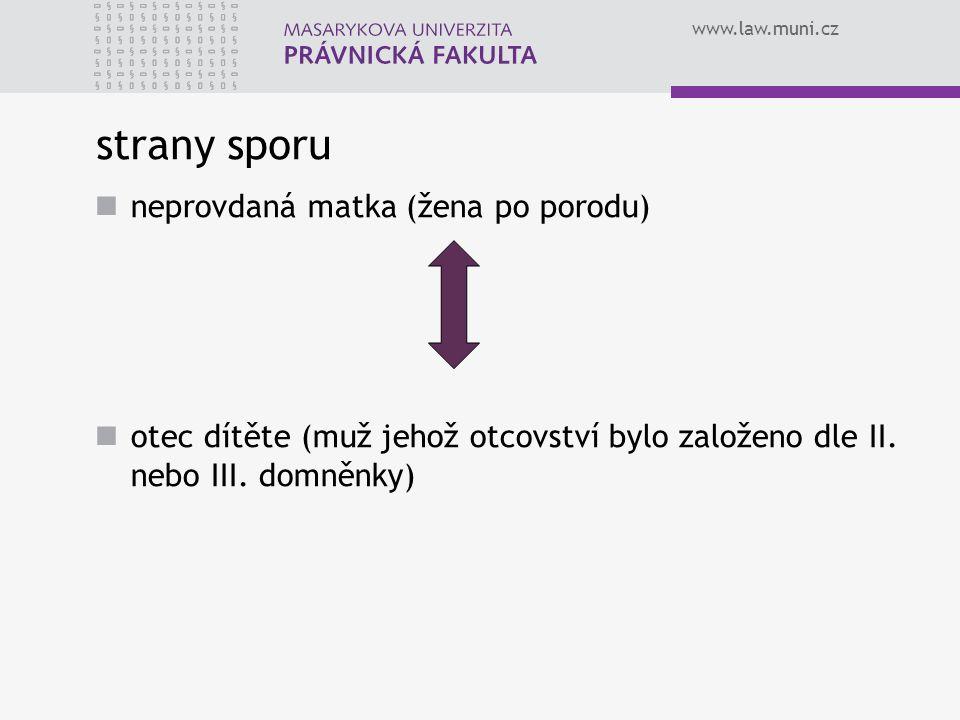 www.law.muni.cz strany sporu neprovdaná matka (žena po porodu) otec dítěte (muž jehož otcovství bylo založeno dle II. nebo III. domněnky)