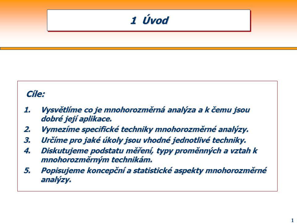 1 Cíle: Cíle: 1.Vysvětlíme co je mnohorozměrná analýza a k čemu jsou dobré její aplikace. 2.Vymezíme specifické techniky mnohorozměrné analýzy. 3.Určí