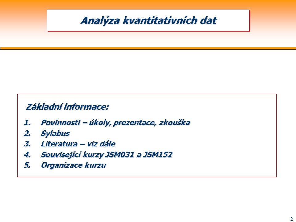2 Základní informace: Základní informace: 1.Povinnosti – úkoly, prezentace, zkouška 2.Sylabus 3.Literatura – viz dále 4.Související kurzy JSM031 a JSM