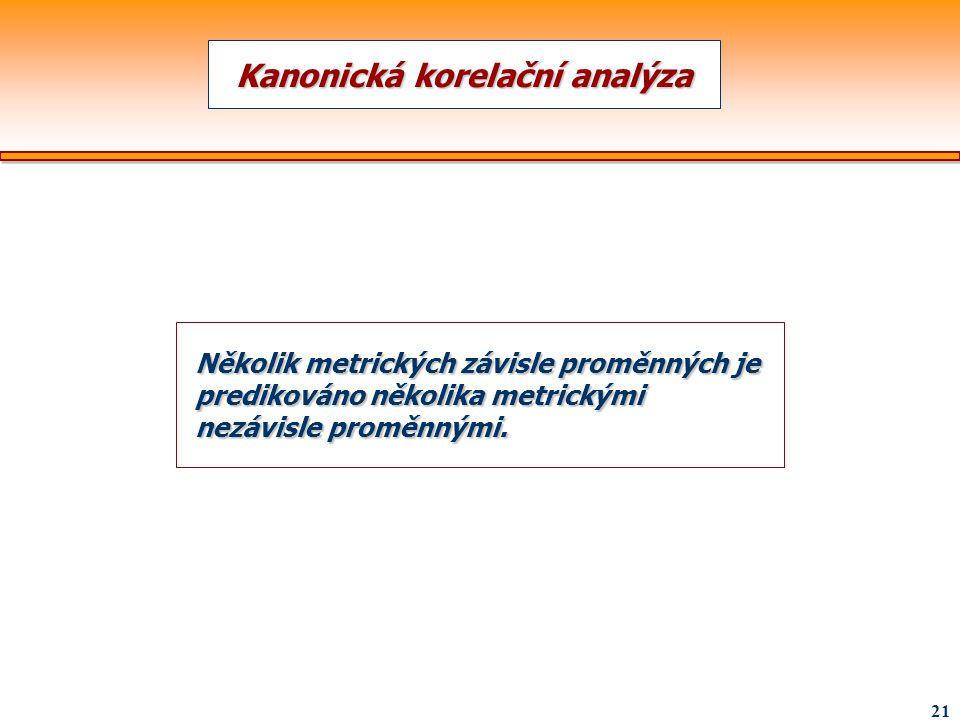 21 Kanonická korelační analýza Několik metrických závisle proměnných je predikováno několika metrickými nezávisle proměnnými.