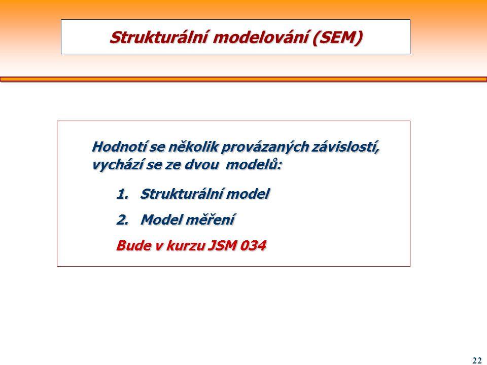 22 Strukturální modelování (SEM) Hodnotí se několik provázaných závislostí, vychází se ze dvou modelů: 1.Strukturální model 2.Model měření Bude v kurz