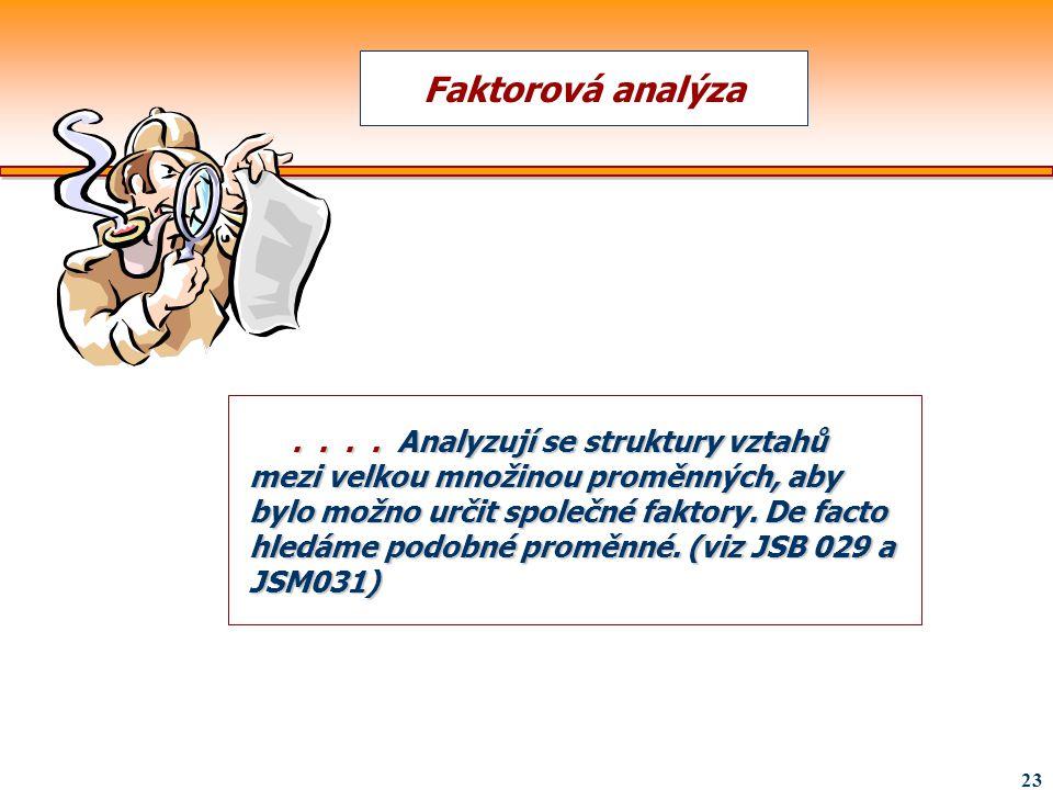 23.... Analyzují se struktury vztahů mezi velkou množinou proměnných, aby bylo možno určit společné faktory. De facto hledáme podobné proměnné. (viz J