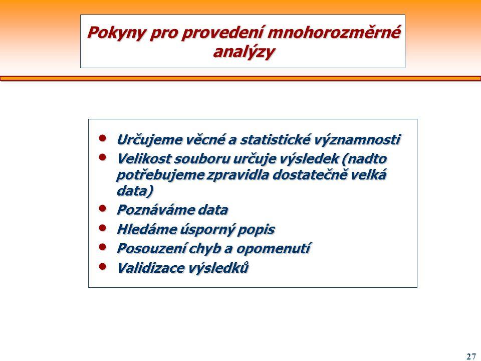 27 Pokyny pro provedení mnohorozměrné analýzy Určujeme věcné a statistické významnosti Určujeme věcné a statistické významnosti Velikost souboru určuj