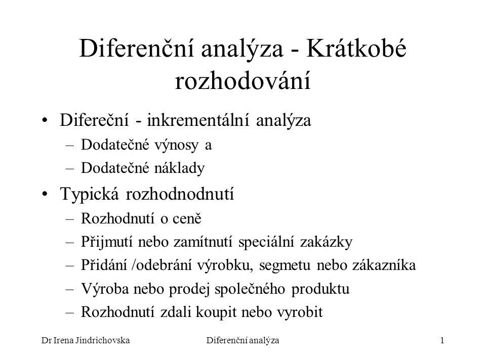 Dr Irena JindrichovskaDiferenční analýza1 Diferenční analýza - Krátkobé rozhodování Difereční - inkrementální analýza –Dodatečné výnosy a –Dodatečné náklady Typická rozhodnodnutí –Rozhodnutí o ceně –Přijmutí nebo zamítnutí speciální zakázky –Přidání /odebrání výrobku, segmetu nebo zákazníka –Výroba nebo prodej společného produktu –Rozhodnutí zdali koupit nebo vyrobit