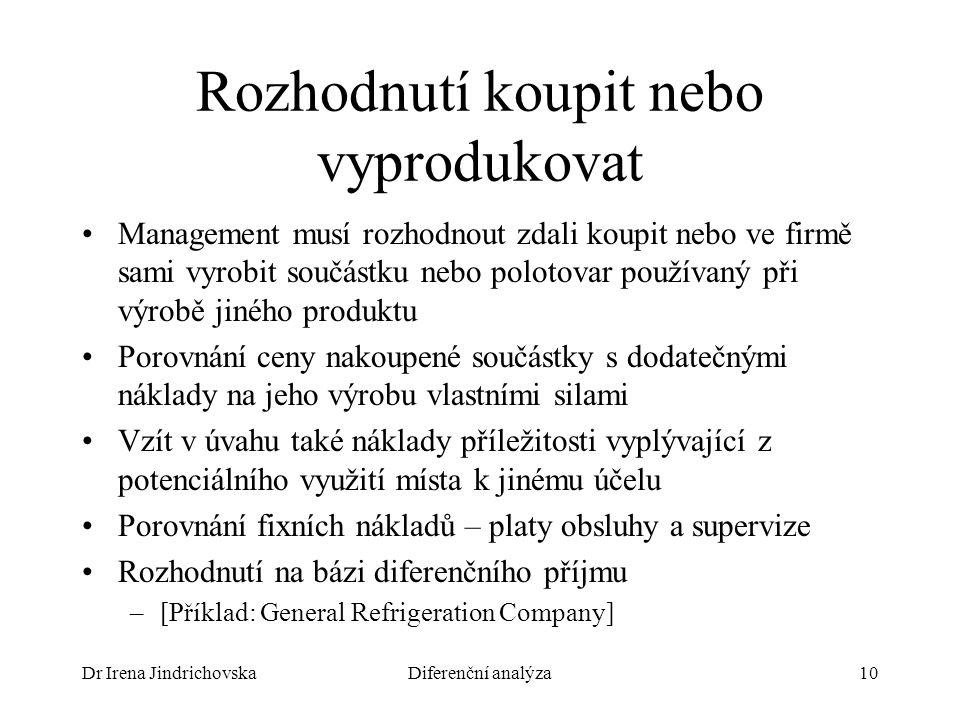 Dr Irena JindrichovskaDiferenční analýza10 Rozhodnutí koupit nebo vyprodukovat Management musí rozhodnout zdali koupit nebo ve firmě sami vyrobit souč