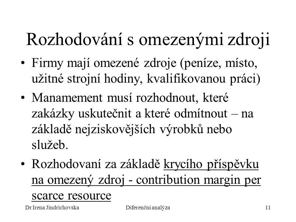 Dr Irena JindrichovskaDiferenční analýza11 Rozhodování s omezenými zdroji Firmy mají omezené zdroje (peníze, místo, užitné strojní hodiny, kvalifikova