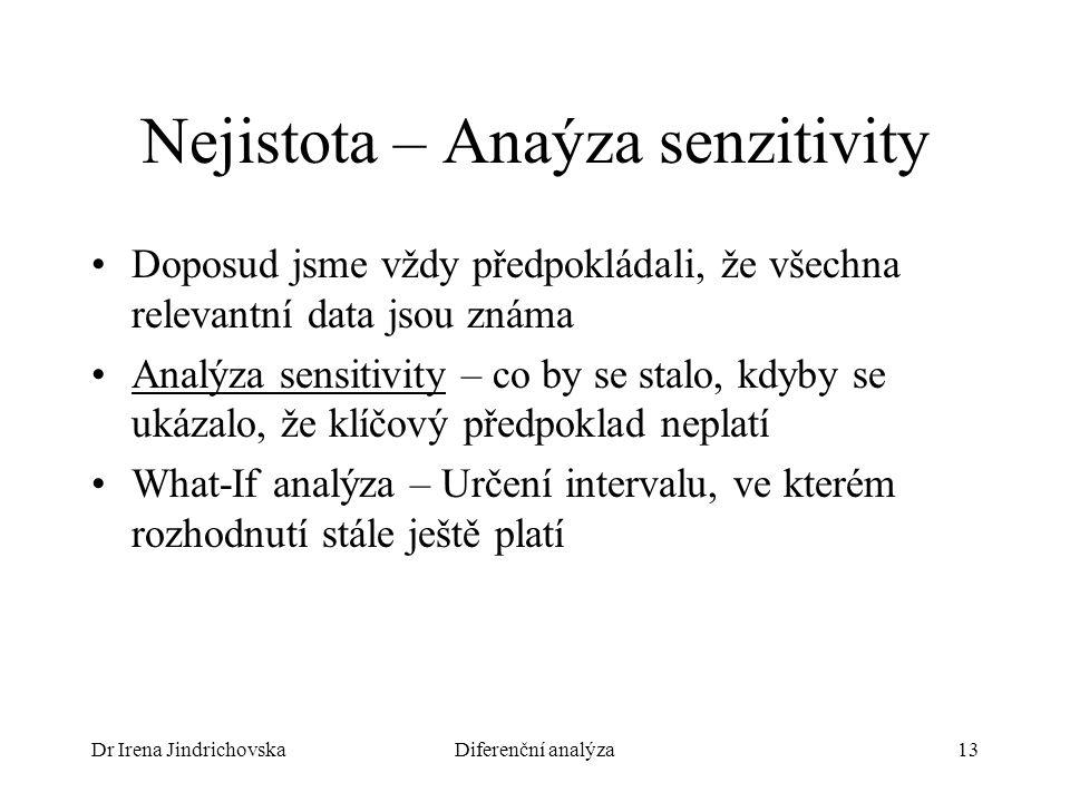 Dr Irena JindrichovskaDiferenční analýza13 Nejistota – Anaýza senzitivity Doposud jsme vždy předpokládali, že všechna relevantní data jsou známa Analýza sensitivity – co by se stalo, kdyby se ukázalo, že klíčový předpoklad neplatí What-If analýza – Určení intervalu, ve kterém rozhodnutí stále ještě platí