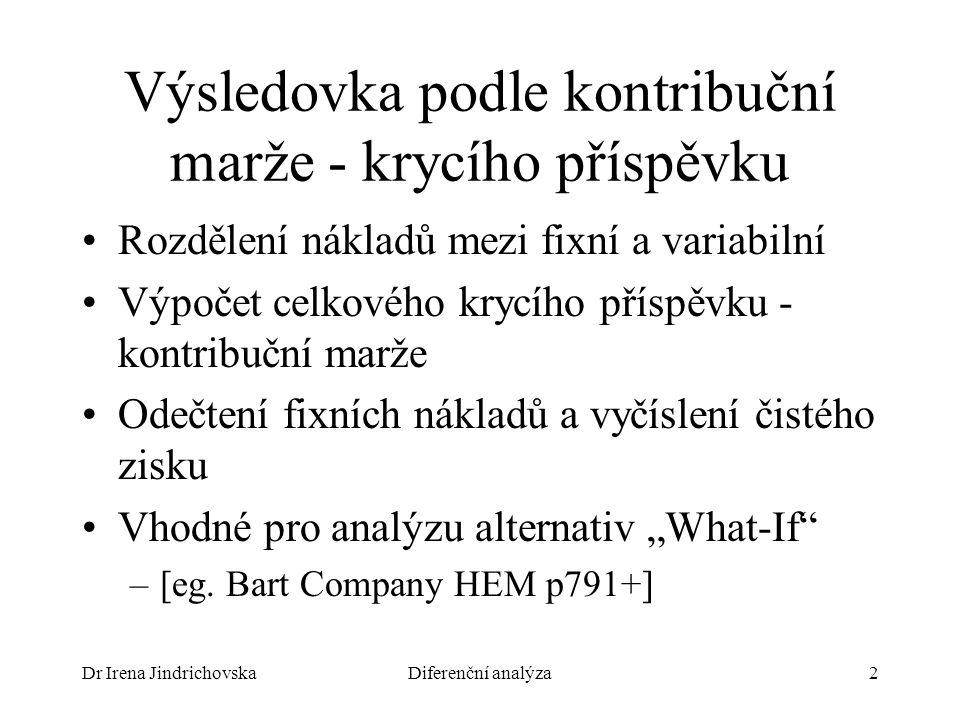 """Dr Irena JindrichovskaDiferenční analýza2 Výsledovka podle kontribuční marže - krycího příspěvku Rozdělení nákladů mezi fixní a variabilní Výpočet celkového krycího příspěvku - kontribuční marže Odečtení fixních nákladů a vyčíslení čistého zisku Vhodné pro analýzu alternativ """"What-If –[eg."""