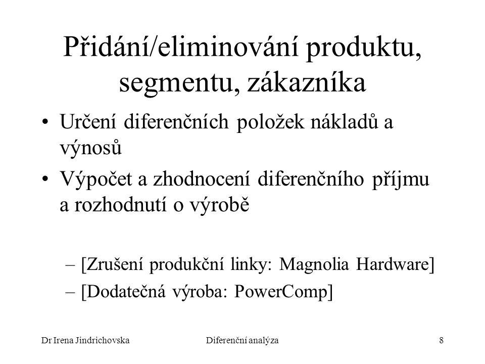 Dr Irena JindrichovskaDiferenční analýza8 Přidání/eliminování produktu, segmentu, zákazníka Určení diferenčních položek nákladů a výnosů Výpočet a zhodnocení diferenčního příjmu a rozhodnutí o výrobě –[Zrušení produkční linky: Magnolia Hardware] –[Dodatečná výroba: PowerComp]