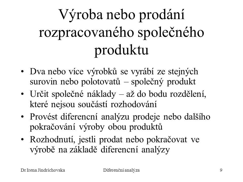 Dr Irena JindrichovskaDiferenční analýza9 Výroba nebo prodání rozpracovaného společného produktu Dva nebo více výrobků se vyrábí ze stejných surovin n