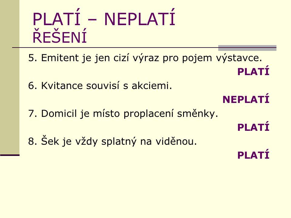 PLATÍ – NEPLATÍ ŘEŠENÍ 5. Emitent je jen cizí výraz pro pojem výstavce.