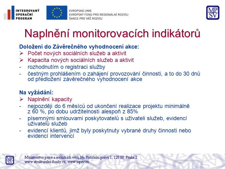 Naplnění monitorovacích indikátorů Doložení do Závěrečného vyhodnocení akce:  Počet nových sociálních služeb a aktivit  Kapacita nových sociálních s