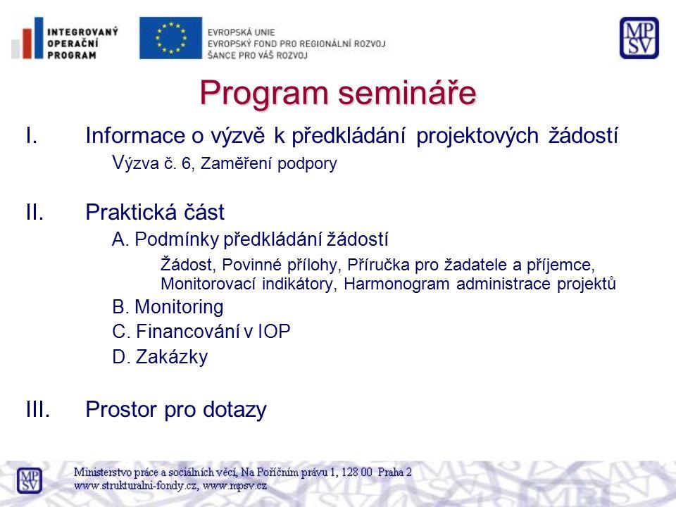 Program semináře I.Informace o výzvě k předkládání projektových žádostí V ýzva č. 6, Zaměření podpory II.Praktická část A. Podmínky předkládání žádost