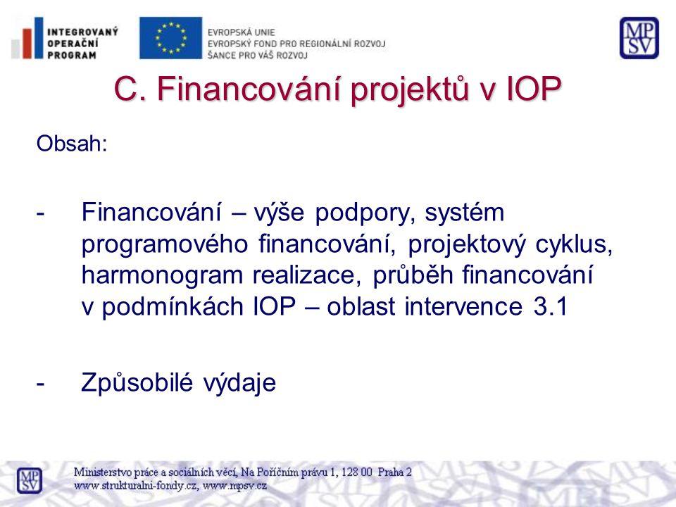 C. Financování projektů v IOP Obsah: -Financování – výše podpory, systém programového financování, projektový cyklus, harmonogram realizace, průběh fi