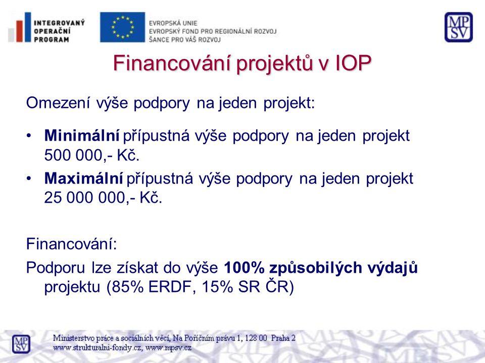 Financování projektů v IOP Omezení výše podpory na jeden projekt: Minimální přípustná výše podpory na jeden projekt 500 000,- Kč. Maximální přípustná