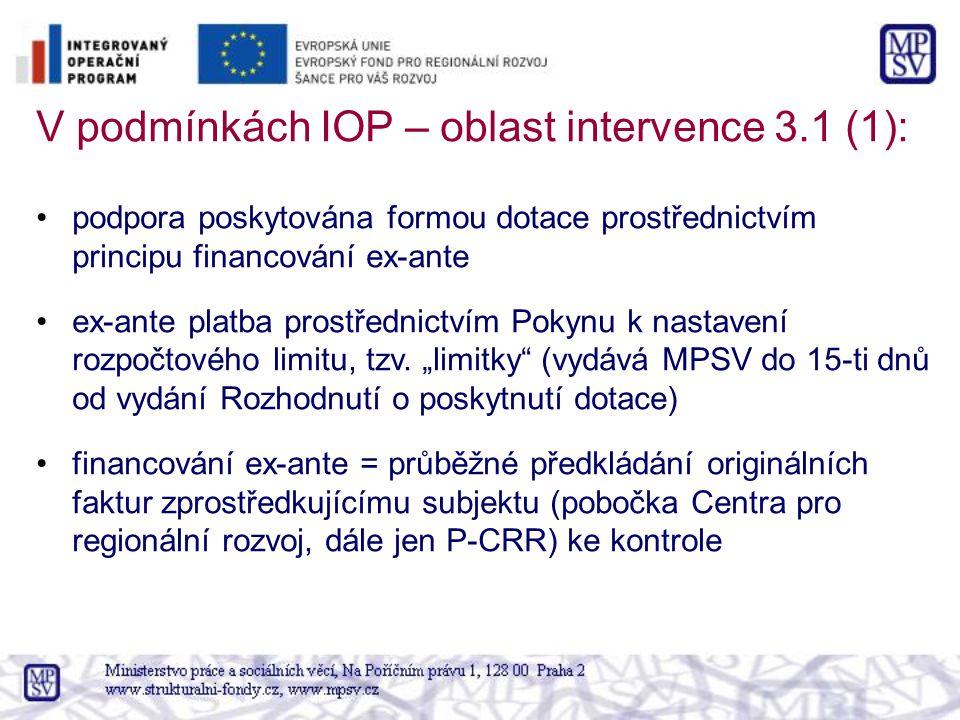 V podmínkách IOP – oblast intervence 3.1 (1): podpora poskytována formou dotace prostřednictvím principu financování ex-ante ex-ante platba prostředni