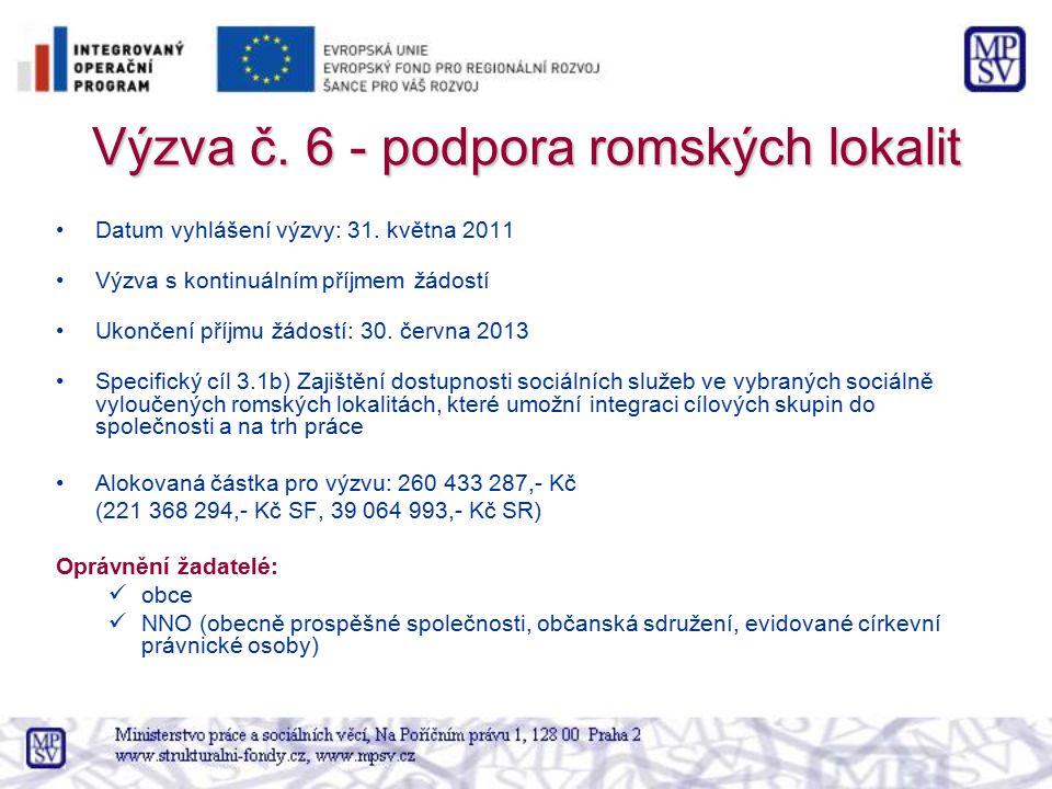 Výzva č. 6 - podpora romských lokalit Datum vyhlášení výzvy: 31. května 2011 Výzva s kontinuálním příjmem žádostí Ukončení příjmu žádostí: 30. června