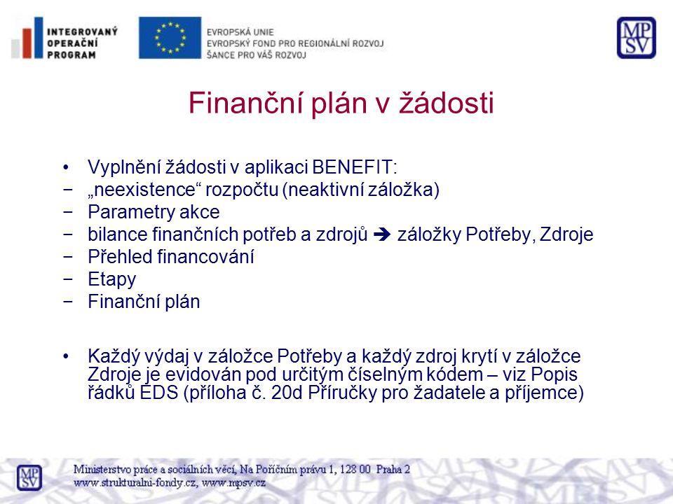 """Finanční plán v žádosti Vyplnění žádosti v aplikaci BENEFIT: −""""neexistence"""" rozpočtu (neaktivní záložka) −Parametry akce −bilance finančních potřeb a"""