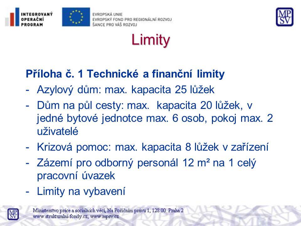 Limity Příloha č. 1 Technické a finanční limity -Azylový dům: max. kapacita 25 lůžek -Dům na půl cesty: max. kapacita 20 lůžek, v jedné bytové jednotc