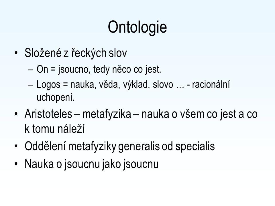 Ontologie Složené z řeckých slov –On = jsoucno, tedy něco co jest.