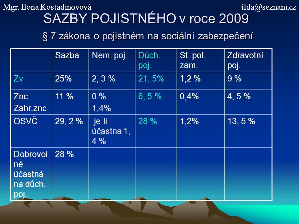 SAZBY POJISTNÉHO v roce 2009 § 7 zákona o pojistném na sociální zabezpečení SazbaNem.
