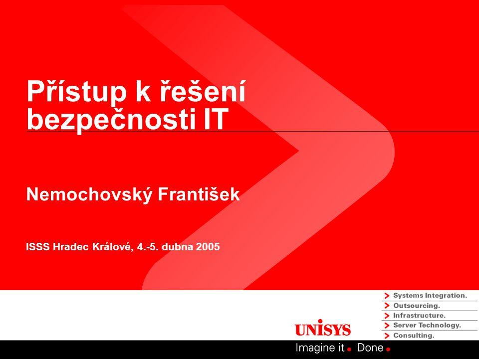 Přístup k řešení bezpečnosti IT Nemochovský František ISSS Hradec Králové, 4.-5. dubna 2005