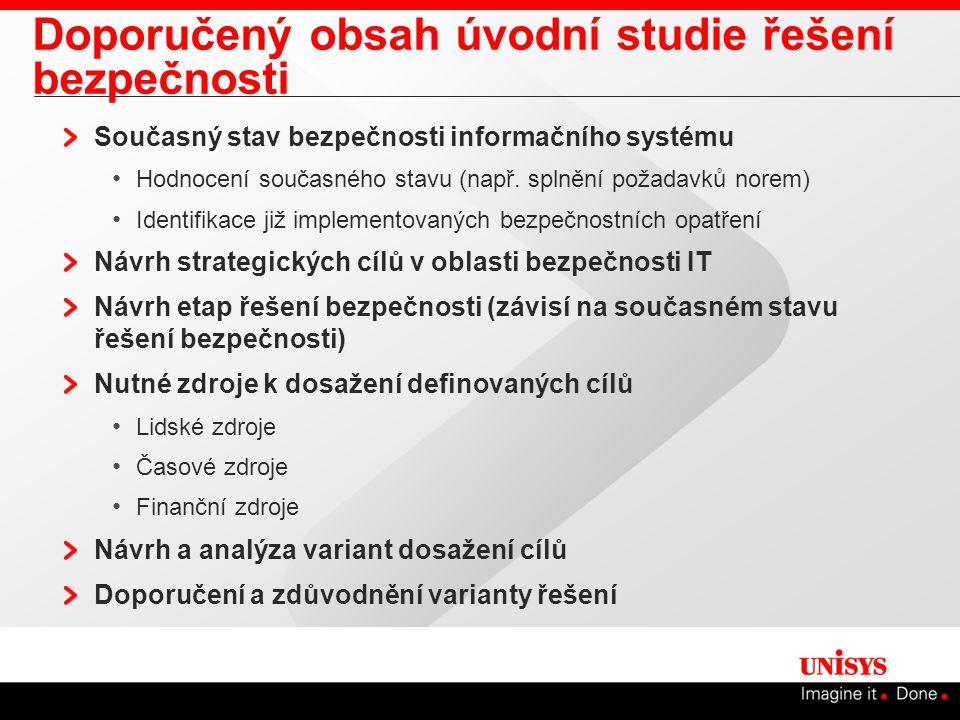 Doporučený obsah úvodní studie řešení bezpečnosti Současný stav bezpečnosti informačního systému Hodnocení současného stavu (např.
