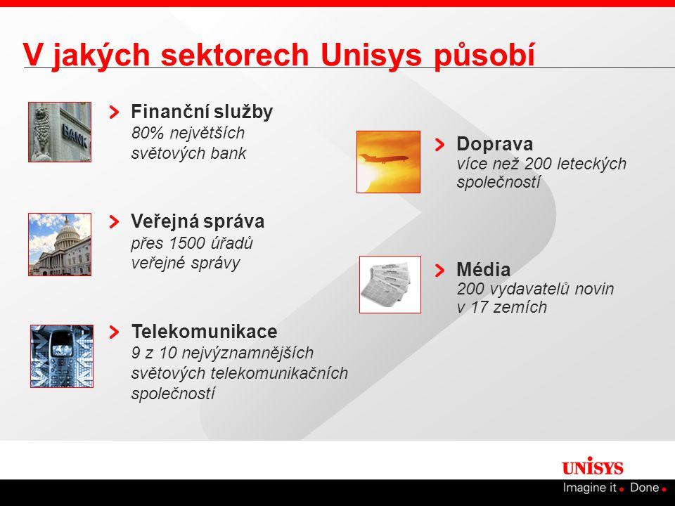 V jakých sektorech Unisys působí Finanční služby 80% největších světových bank Veřejná správa přes 1500 úřadů veřejné správy Telekomunikace 9 z 10 nejvýznamnějších světových telekomunikačních společností Doprava více než 200 leteckých společností Média 200 vydavatelů novin v 17 zemích