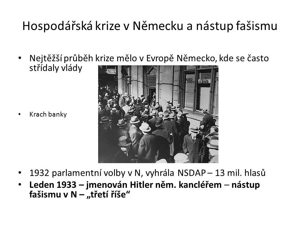 Hospodářská krize v Německu a nástup fašismu Nejtěžší průběh krize mělo v Evropě Německo, kde se často střídaly vlády Krach banky 1932 parlamentní volby v N, vyhrála NSDAP – 13 mil.