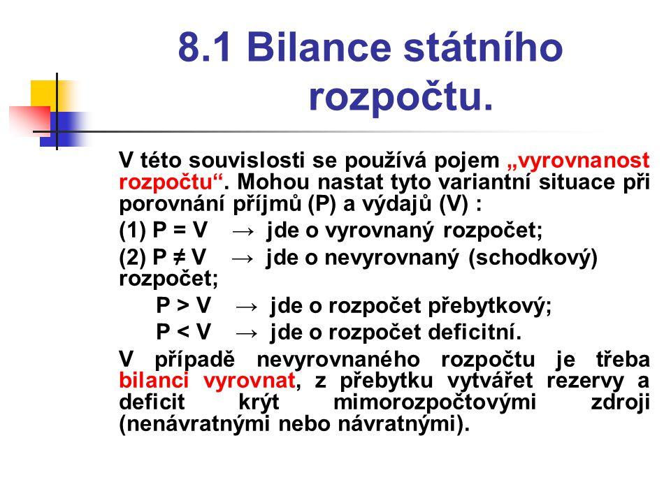 """8.1 Bilance státního rozpočtu. V této souvislosti se používá pojem """"vyrovnanost rozpočtu ."""