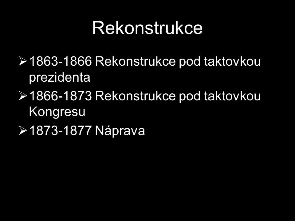 Rekonstrukce  1863-1866 Rekonstrukce pod taktovkou prezidenta  1866-1873 Rekonstrukce pod taktovkou Kongresu  1873-1877 Náprava