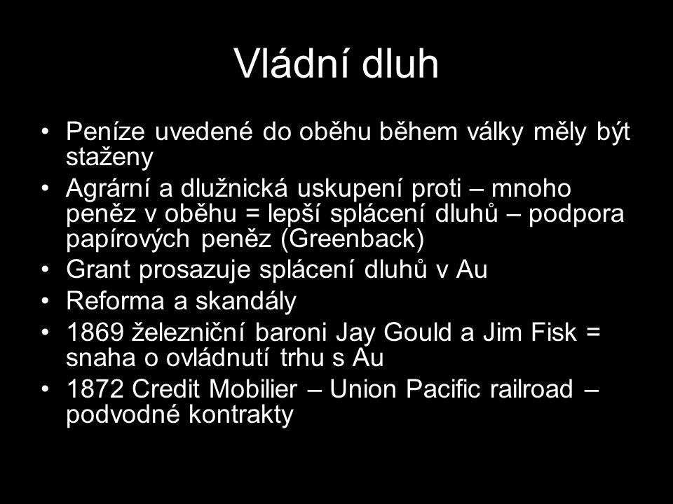 Vládní dluh Peníze uvedené do oběhu během války měly být staženy Agrární a dlužnická uskupení proti – mnoho peněz v oběhu = lepší splácení dluhů – pod