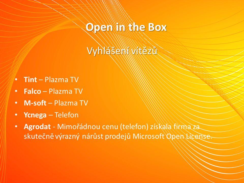 Vyhlášení vítězů Tint – Plazma TV Falco – Plazma TV M-soft – Plazma TV Ycnega – Telefon Agrodat - Mimořádnou cenu (telefon) získala firma za skutečně výrazný nárůst prodejů Microsoft Open License.