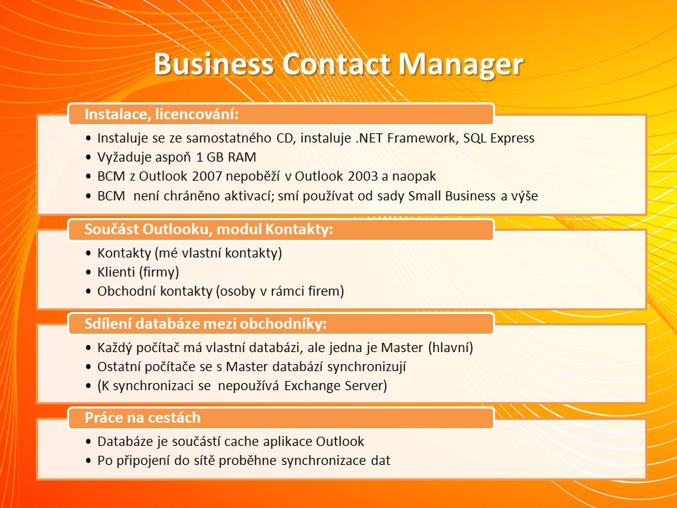 Demo aplikace Business Contact Manager