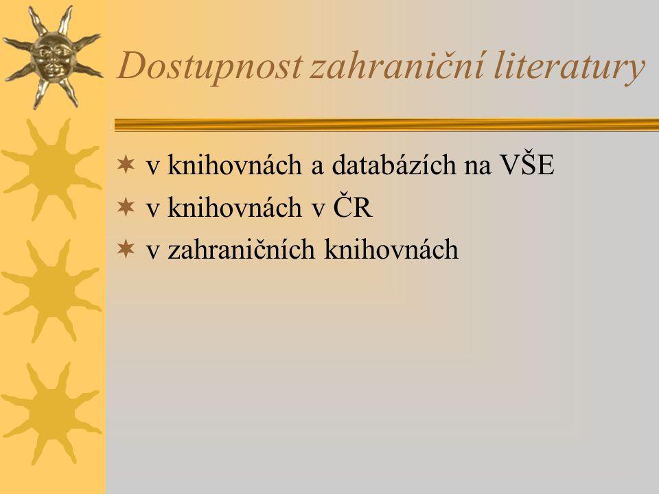 Dostupnost zahraniční literatury  v knihovnách a databázích na VŠE  v knihovnách v ČR  v zahraničních knihovnách