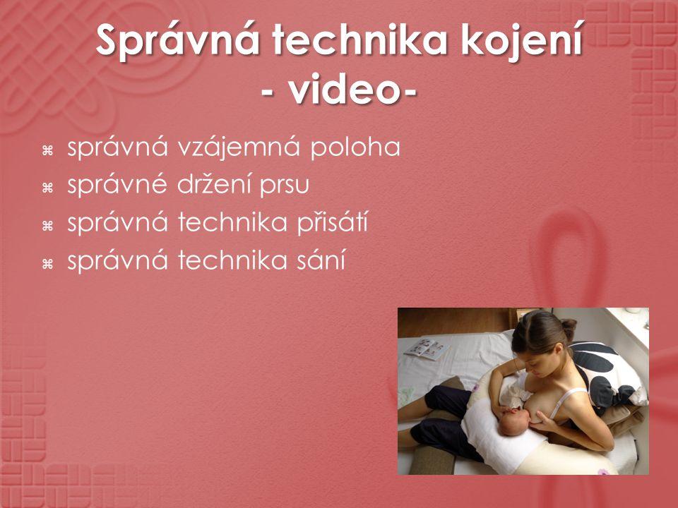 Správná technika kojení - video-  správná vzájemná poloha  správné držení prsu  správná technika přisátí  správná technika sání