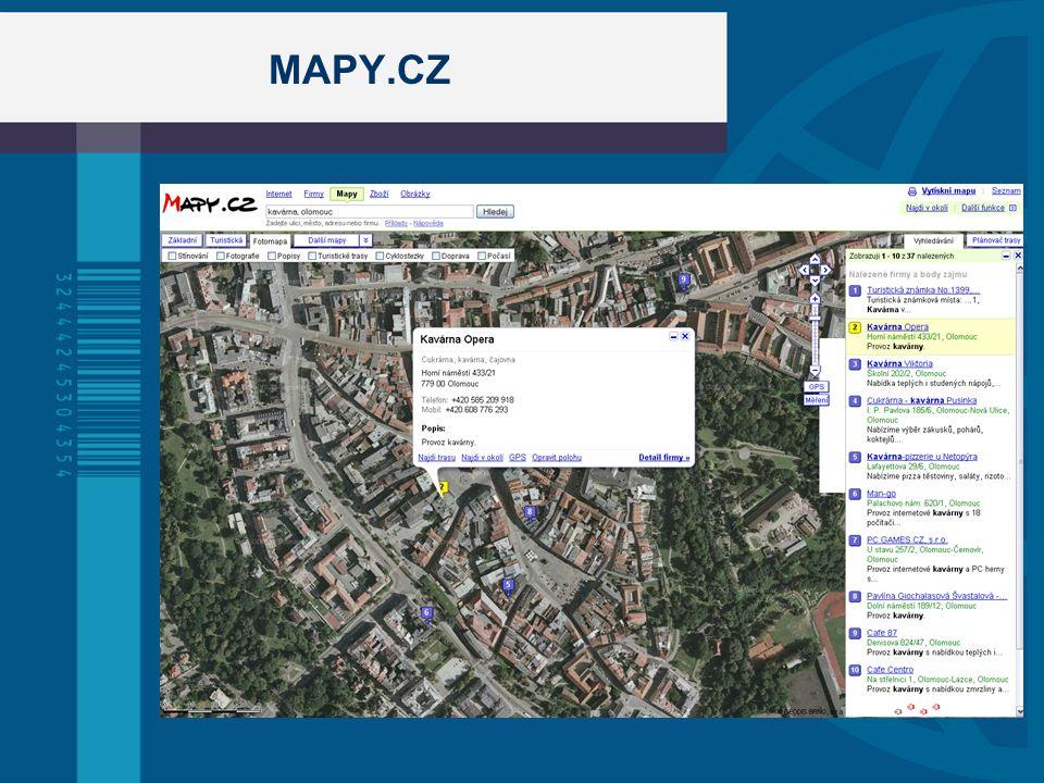 Geolokace uživatelů  geografické určení polohy počítače (mobilu, PDA,…) na základě IP adresy, Wi-Fi sítě nebo GPS souřadnicemi (mobil, PDA s GPS)  Zatím neexistuje standart  Podporují prohlížeče Firefox, Chrome, Opera  Využití: geo targeting (obsah webové stránky se mění na základě polohy uživatele) GoogleLocal (seřazení odkazů podle polohy) cílená reklama