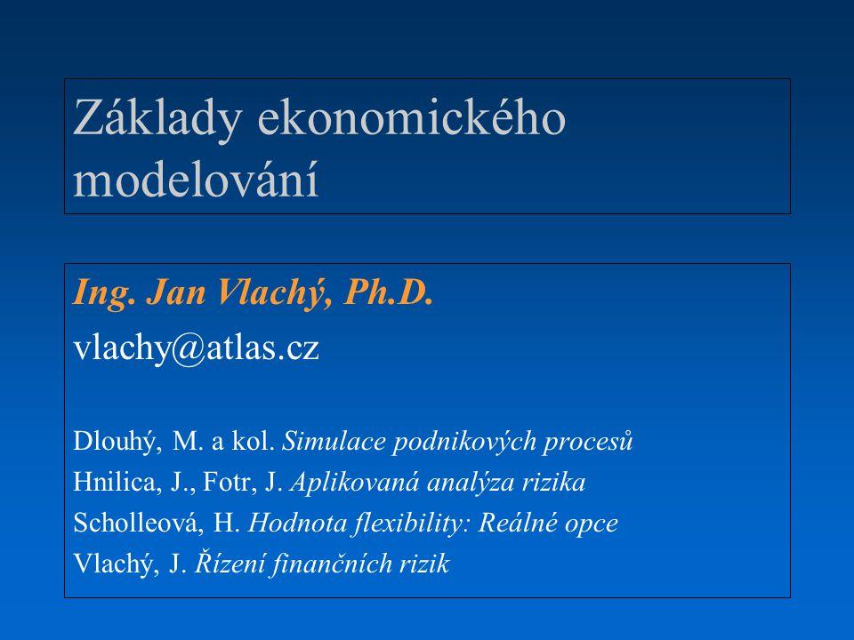 Základy ekonomického modelování Ing. Jan Vlachý, Ph.D. vlachy@atlas.cz Dlouhý, M. a kol. Simulace podnikových procesů Hnilica, J., Fotr, J. Aplikovaná