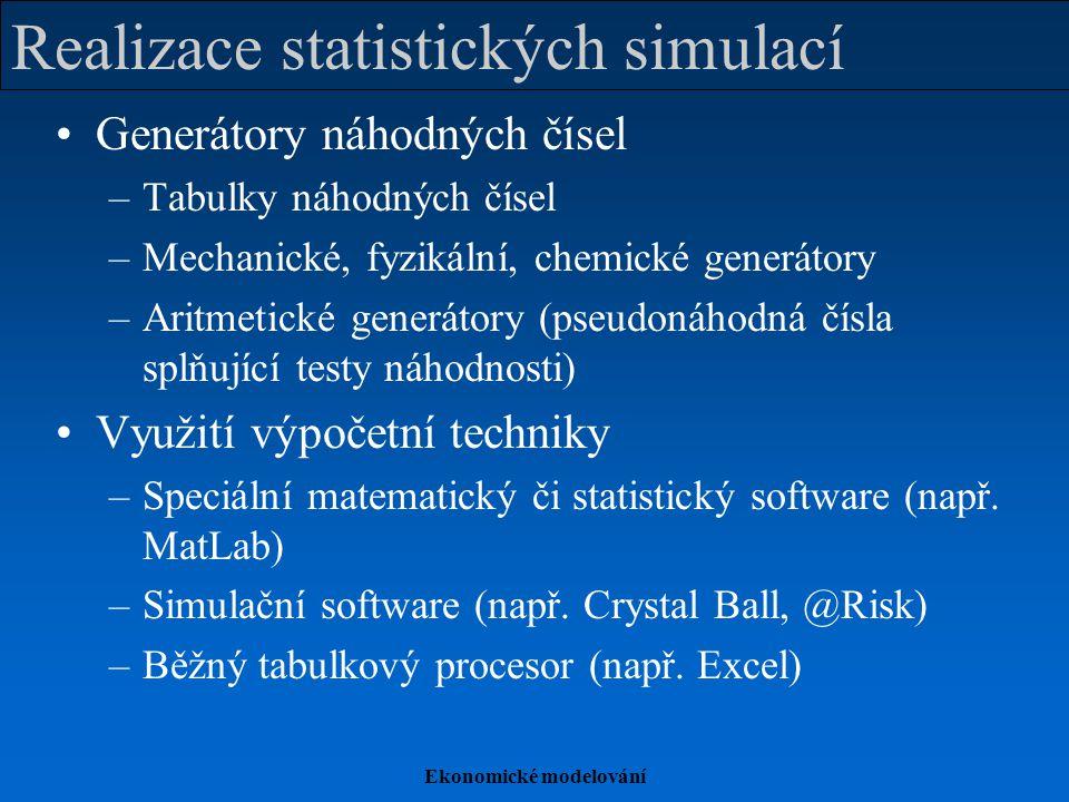 Ekonomické modelování Realizace statistických simulací Generátory náhodných čísel –Tabulky náhodných čísel –Mechanické, fyzikální, chemické generátory