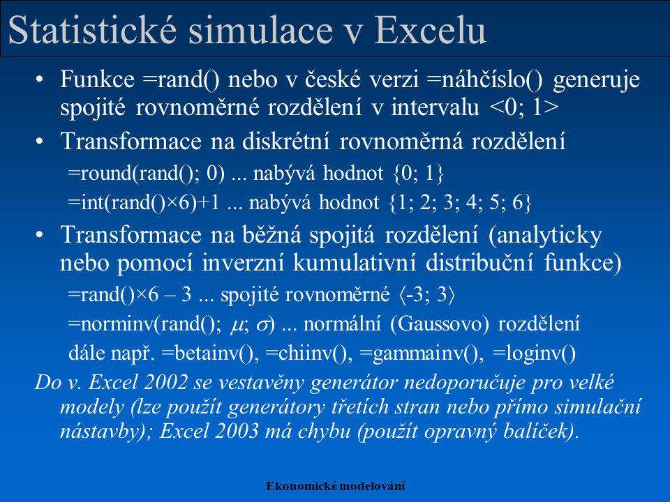 Ekonomické modelování Statistické simulace v Excelu Funkce =rand() nebo v české verzi =náhčíslo() generuje spojité rovnoměrné rozdělení v intervalu Transformace na diskrétní rovnoměrná rozdělení =round(rand(); 0)...