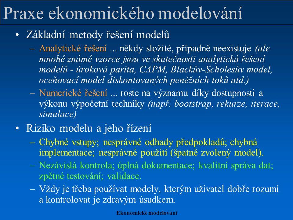 Ekonomické modelování Praxe ekonomického modelování Základní metody řešení modelů –Analytické řešení... někdy složité, případně neexistuje (ale mnohé